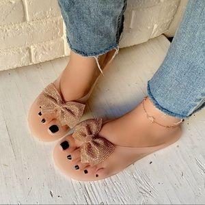Shoes - Rosegold Bow Flip Flop Jelly